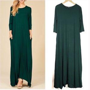 Hunter Green 3/4 Sleeve Maxi Dress with Pockets